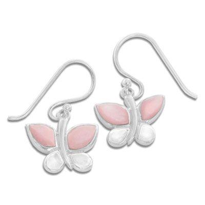 Schmetterlings Ohrhänger mit Perlmutt 925 Silber