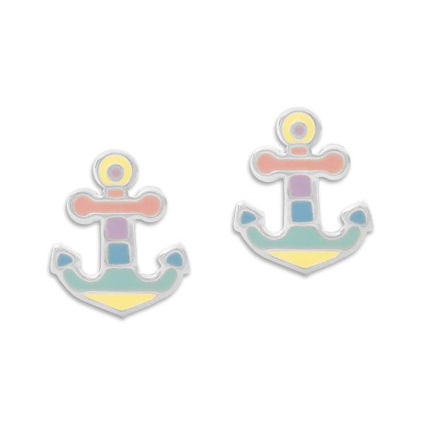 Ohrstecker Anker in Pastellfarben 925 Silber Kinder Ohrringe