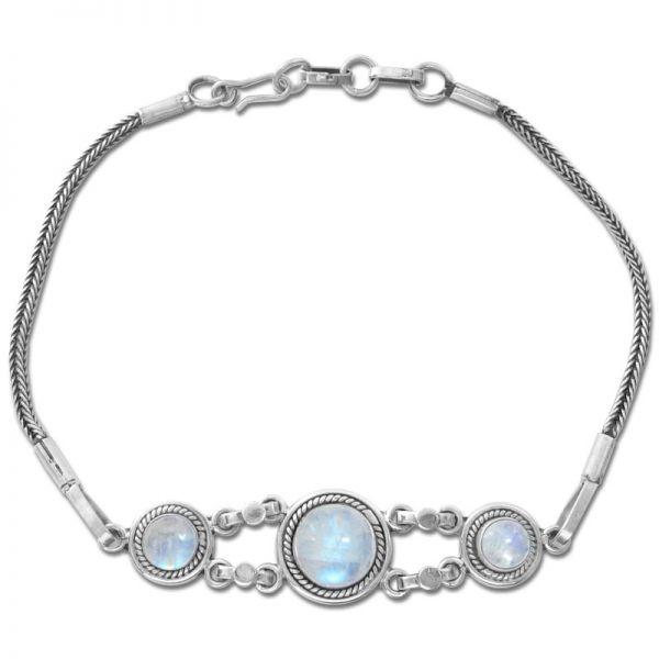Filigranes Mondstein Armband geschwärzt 925 Silber