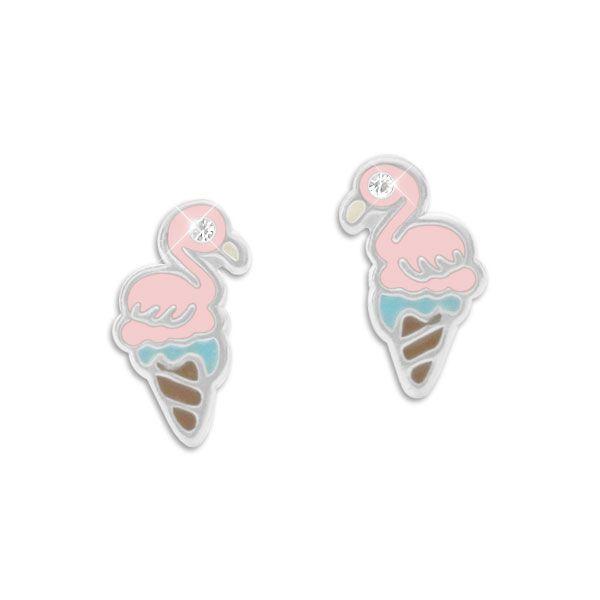 Ohrringe Ohrstecker mit Flamingo Eistüte 925 Silber