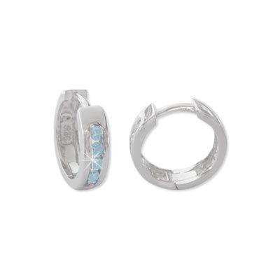Creolen mit aquamarin blauen Steinen 925 Silber