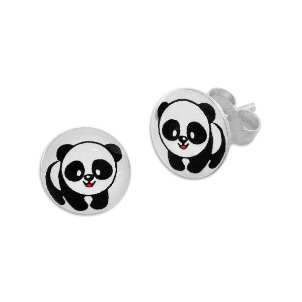 Runde Ohrstecker mit Pandabär 925 Silber Panda Ohrringe