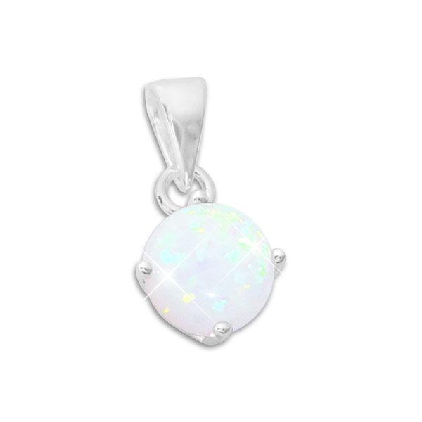 Anhänger Opal mit Krappenfassung 8 mm 925 Silber Opalschmuck