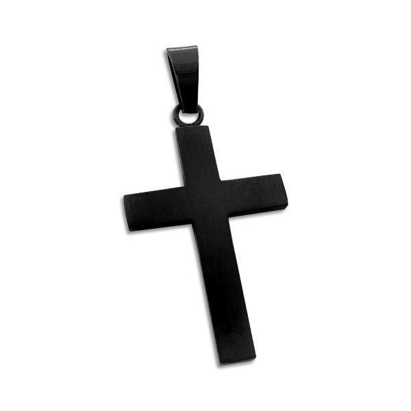 Edelstahlschmuck Edelstahl Kreuz Anhänger glänzend schwarz