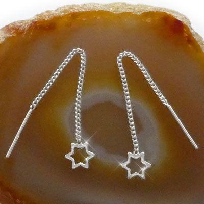 Ohrringe zum Durchziehen mit Sternen 925 Silber