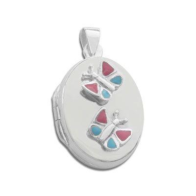 Medaillon für Kinder mit 2 lackierten Schmetterlingen 925 Silber