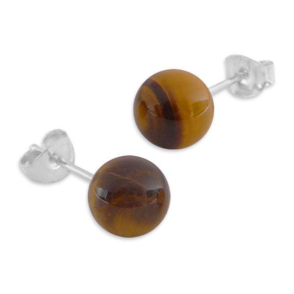 Tigerauge Ohrstecker Ohrringe 8 mm 925 Silber braune Edelsteine
