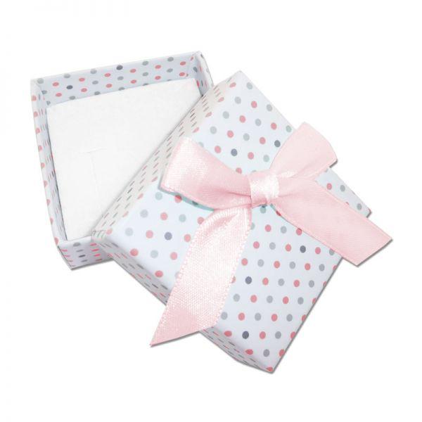 Schmuckschachtel Punkte und Schleife weiß rosa 45 x 45 x 22 mm