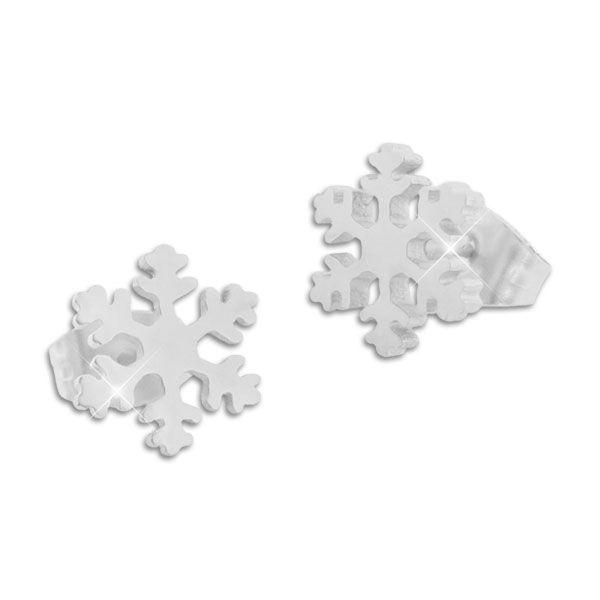 Edelstahl Ohrstecker Eiskristall Schneeflocke