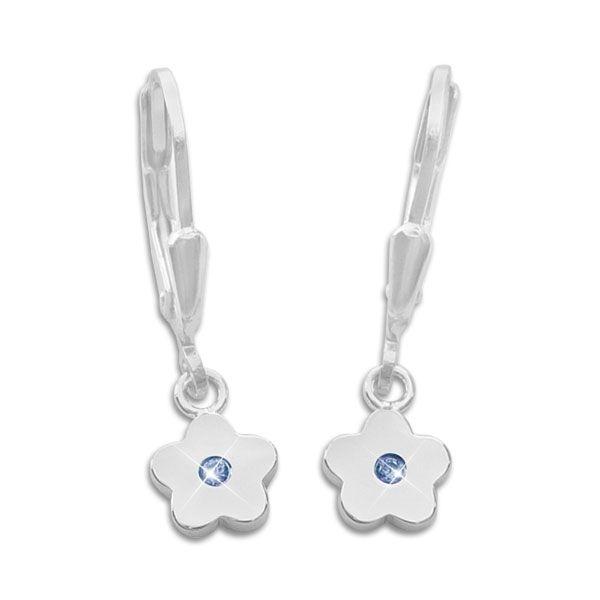 Kinder Ohrringe glänzende Blumen mit safirblauen Zirkonia 925 Silber