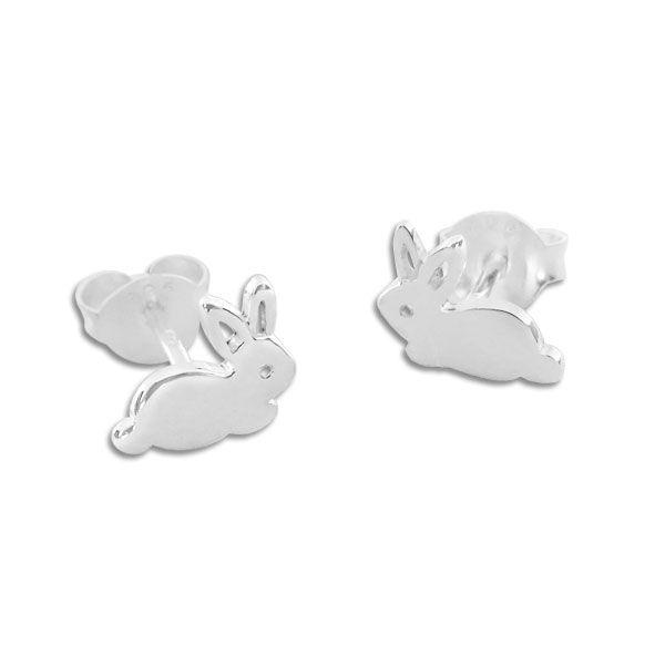 Ohrstecker mit Hasen glänzend 925 Silber Häschen Ohrringe