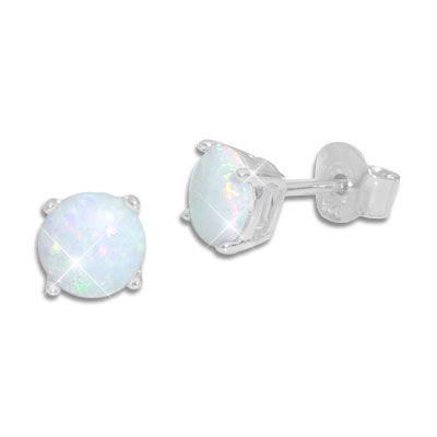 Runde Opal Ohrringe mit Krappenfassung 5 mm 925 Silber