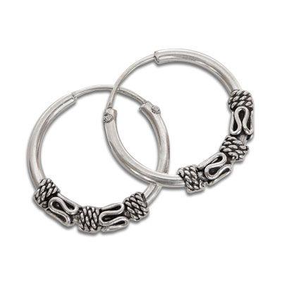 Gothic Creolen 14 x 2,5 mm 925 Silber für Damen und Heren