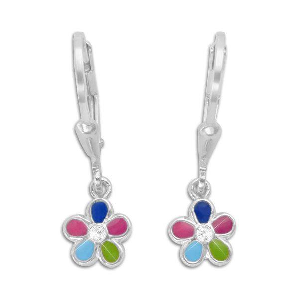 Mädchen Ohrringe Blume bunt mit Zirkonia 925 Silber