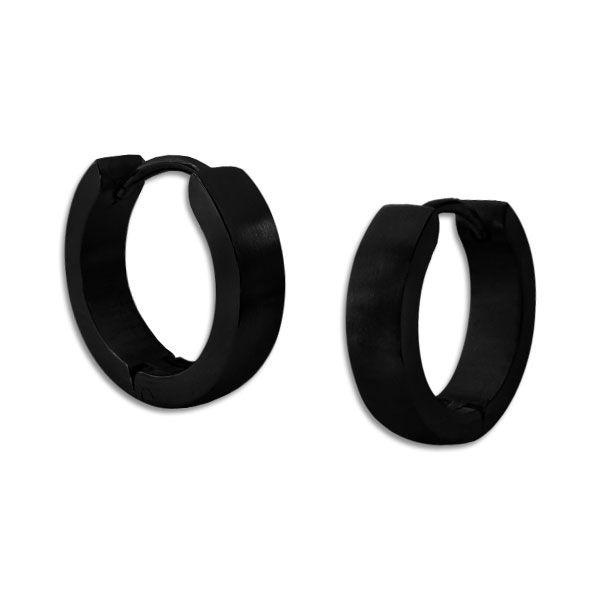 Edelstahl Creolen schwarz gewölbt 13 x 2,5 mm mattiert für Damen und Herren