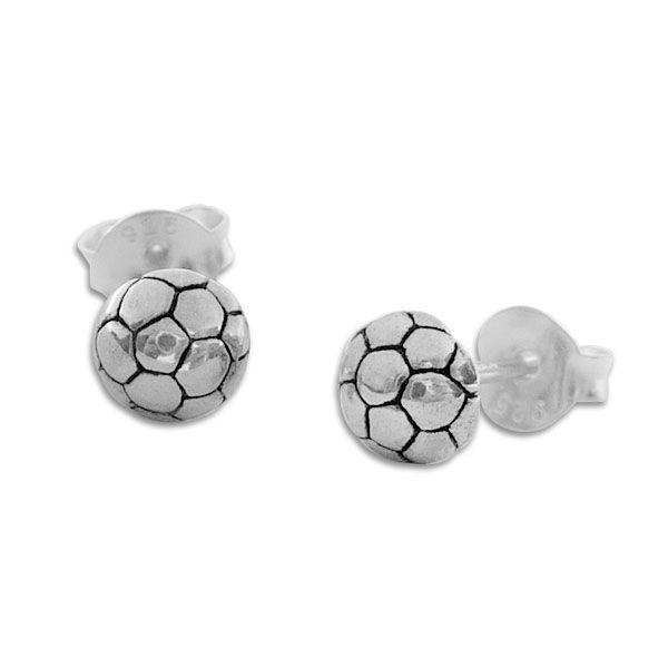 Ohrstecker Fußball Halbkugel 925 Silber Ohrringe für Jungs