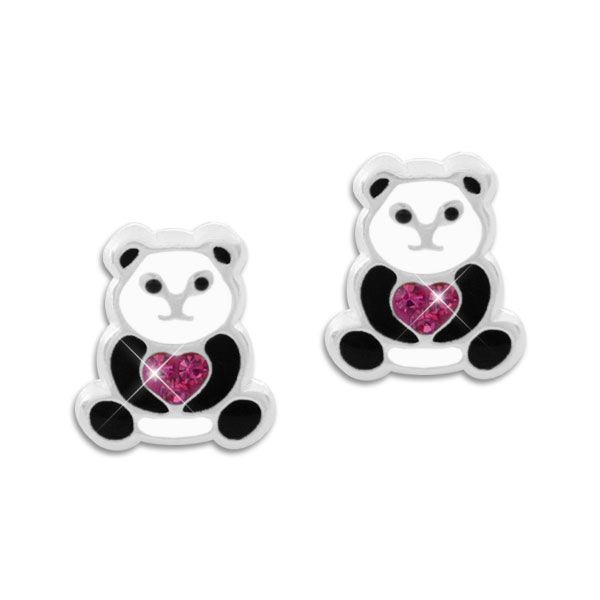 Kinder Ohrringe Panda mit Herz aus Kristallen 925 Silber