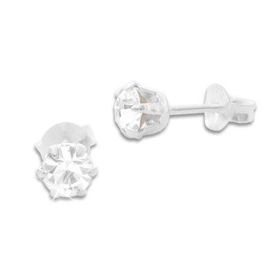 Kristall Ohrstecker weiß rund 5 mm 925 Silber