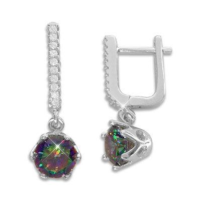 Creolen mit Multicolor und weiße Zirkonia 925 Silber Ohrringe für Damen