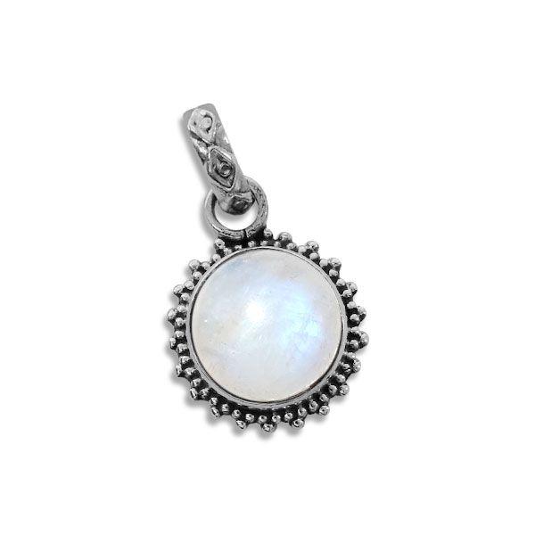 Anhänger kleine runde Mondstein Sonne mit filigraner Öse 925 Silber