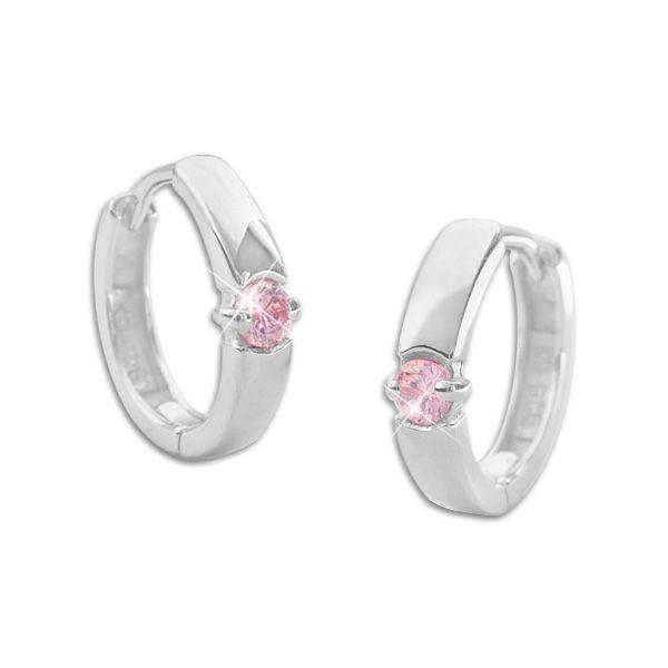 Klapp-Creolen rosa Zirkonia 925 Silber Creolen Ohrringe Damen und Mädchen