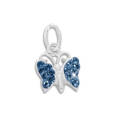 Anhänger Schmetterling mit blauen Strass Steinen 925 Silber für Mädchen