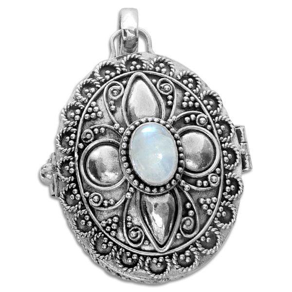 Ovaler Mondsteinanhänger zum Öffnen 925 Silber