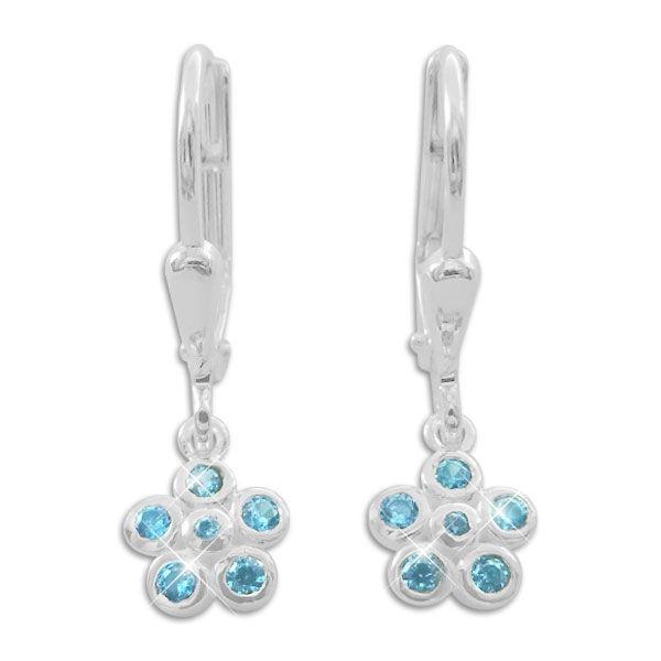 Kinder Ohrringe Blumen mit aqua blauen Steinen 925 Silber