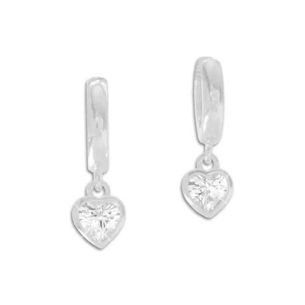 Creolen mit Herz Anhänger 925 Silber Hänger Ohrringe