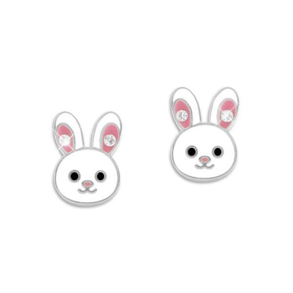 Kaninchen Ohrstecker mit Strass Ohren 925 Silber Hasen Ohrringe