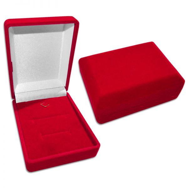 Schmucketui Samt rot für Kette Ohrringe Anhänger Ring