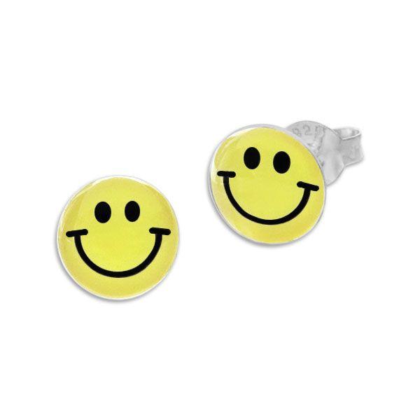 Runde Ohrstecker Ohrringe gelbes Smile Gesicht 925 Silber