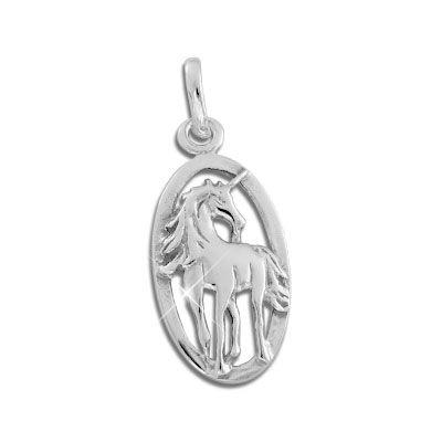 Einhorn Anhänger mit Rahmen oval 925 Silber