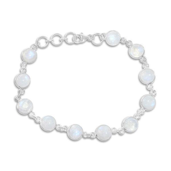 Regenbogenmondstein Armband 11 runde Steine 925 Silber