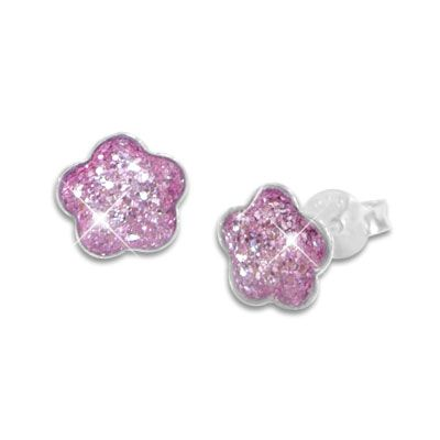 Glitzer Ohrstecker Blume violett Kinder Ohrringe 925 Silber