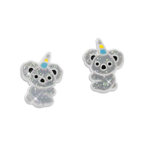 Glitzernde Ohrstecker Koala mit Horn 925 Silber Ohrringe