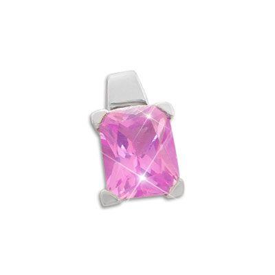 Strass Anhänger pink 925 Silber Damen Silberschmuck Anhänger mit Stein