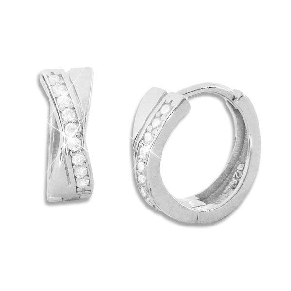 Glänzende Klapp-Creolen gekreuzt mit Zirkonia Steinen 925 Silber