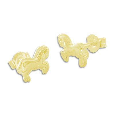 Pferdchen Ohrringe 333 Gold Kinderschmuck Ohrstecker