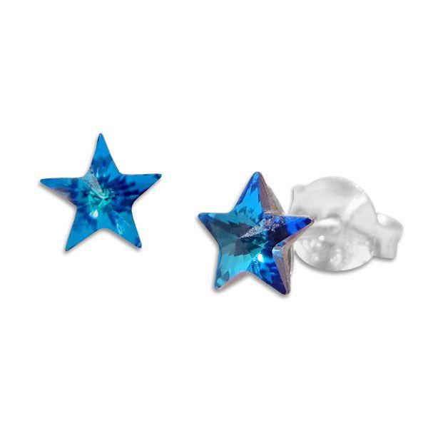 Ohrstecker Regenbogen Sterne blau 925 Silber Ohrringe