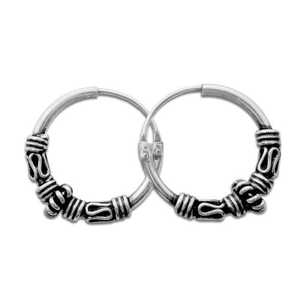 Gothiccreolen 925 Silber 14 x 2,5 mm Herren und Damen Ohrringe