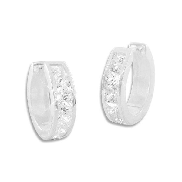 Klapp-Creolen mit eckigen Zirkonia Steinen in weiß 925 Silber