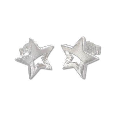 Stern Ohrstecker mit Zirkonia 925 Silber Schmuck für Damen