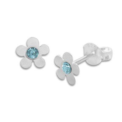 Kinder Ohrringe Blume mattiert mit hellblauem Kristall 925 Silber