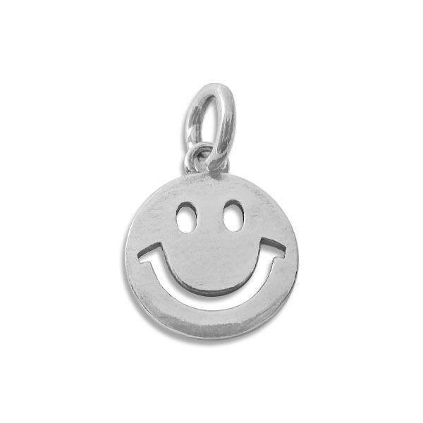 Smile Anhänger glänzend geschwärzt rund 925 Silber