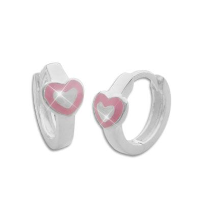 Schmuck Creolen für Kinder Herz rosa 925 Silber Kinderschmuck