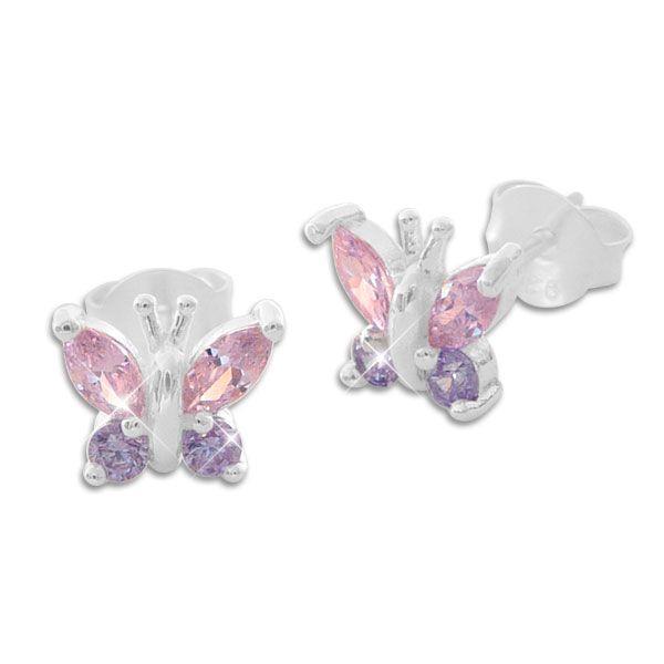 Mädchen Ohrstecker Schmetterling mit lila und rosa Strass Steinen 925 Silber