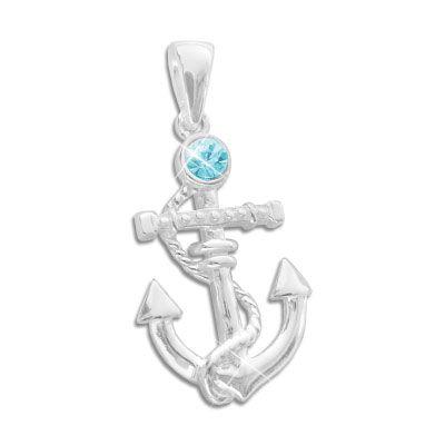 Silber Anhänger Anker mit aqua blauem Strass Stein 925 Silber
