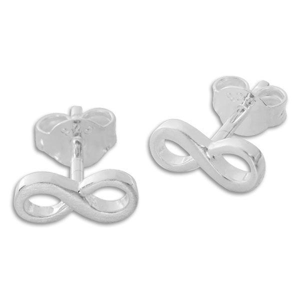 Ohrstecker Unendlichkeitszeichen mattiert 925 Silber Damen Ohrringe