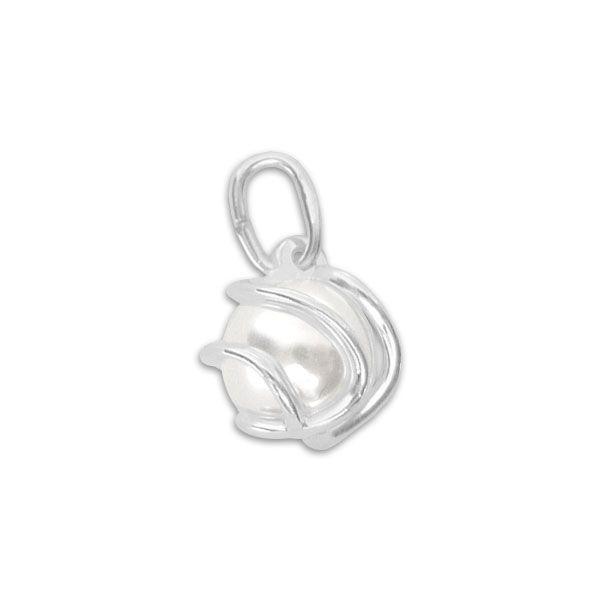 Silberschmuck Anhänger Perle im Käfig 925 Silber Kunststoffperle weiß